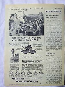 1956 Magazine Advertisement Page For Wizard Lawn Mower