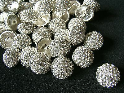 1 x 11mm Sparkling Crystal Pave Buttons Shank Back Bridal Dress Shoes Sewing L4