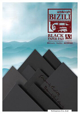 Black Paper Pad A5 30 Sheets 150gsm Art Craft Drawing Painting Sketchbook BiZiLi