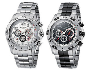 Elgin-1863-Men-039-s-Stainless-Steel-Chronograph-Watch-Choice-of-Two-Styles