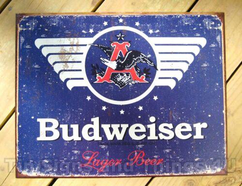 Budweiser 1936 logo TIN SIGN beer bar lager rustic vtg metal wall decor ad 1383
