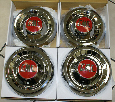 1955 1956 1957 1958 1959 GMC 1/2 TON TRUCK HUBCAP NEW SET OF 4 CHROME