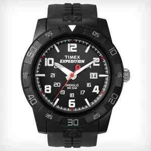 Timex-Expedition-Black-Resin-Watch-50-Meter-WR-Indiglo-Date-T49831