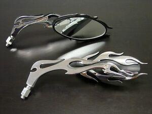 Chrome flame mirrors for kawasaki en 500 vn vulcan 750 800 for Mirror 750 x 900
