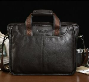 Men-039-s-Genuine-Leather-Handbag-Messenger-Shoulder-Briefcase-Laptop-BAG-Purse-14-034