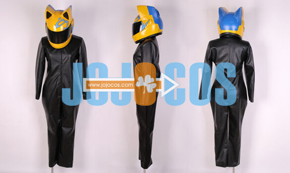 Durarara!!◆The Black Biker Celty Sturluson◆Cosplay Costume w/ Helmet gloves