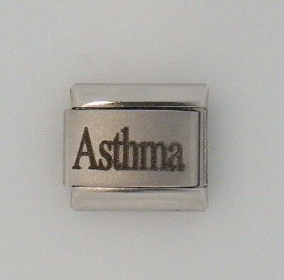Asthma Laser Medical Alert for Italian Charm Bracelets Free Medical ID Card