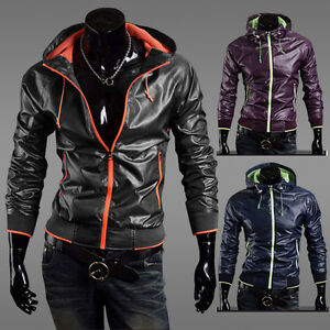 Mens-Slim-Fit-Zipper-Thin-Jackets-Stand-up-Faux-Leather-Hoodie-Coats-M-L-XL-XXL