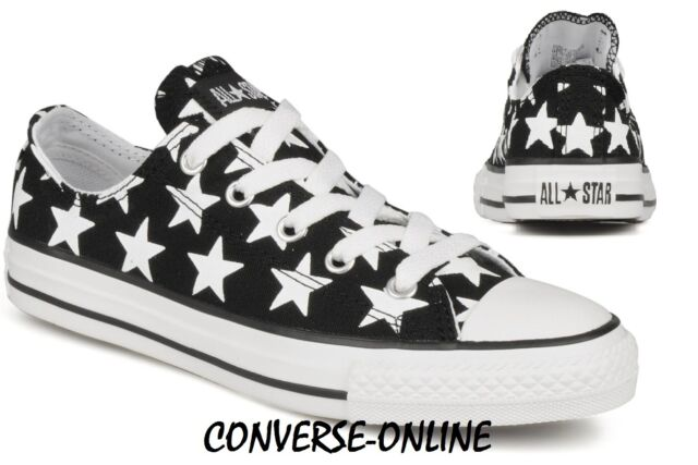 59354ae94ade KIDS Boys Girl CONVERSE All Star BLACK WHITE STARS Low Trainers Shoes UK  SIZE 12