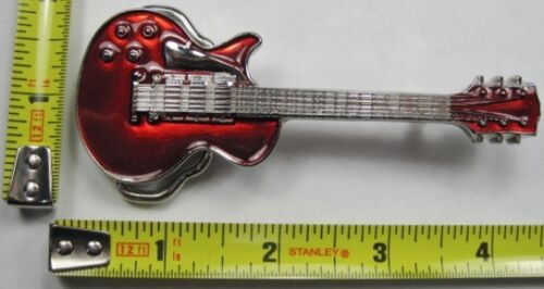 GUITAR METAL BELT BUCKLE RED ELECTRIC ROCK STAR BAND NEW B441