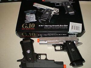 lot-of-2-Airsoft-Gun-FULL-METAL-pistols-1000-FREE-BB-039-s-SHOOTS-GREAT-NEW