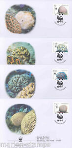 WORLD WILDLIFE FUND 2005 NETHERLAND ANTILLES CORAL SET OF FOUR FIRST DAY COVERS