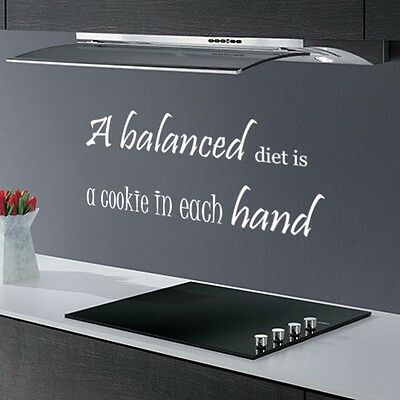 BALANCED...FUNNY DINING ROOM KITCHEN QUOTE MURAL WALL ART DECAL STICKER VINYL