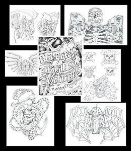 Skeletons-Skulls-Reapers-Tattoo-Flash-Liner-Art-Sketch-Book-FREE-SHIPPING