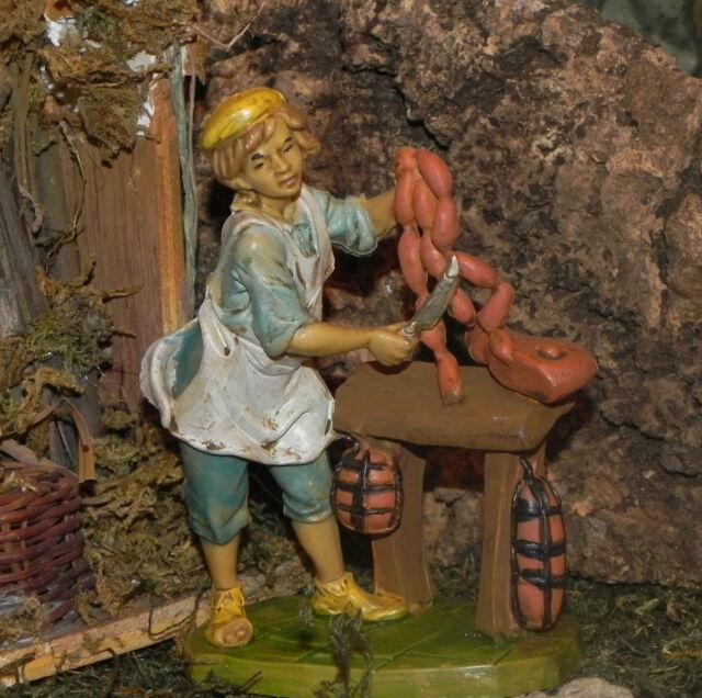 "4.5"" Euromarchi Nativity Butcher Village Figure Presepio Pesebres Manger Scene"