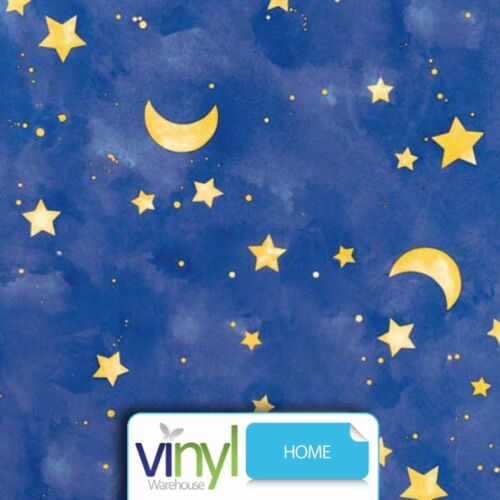 Stars & Moon Printed Night Sky Sticky Vinyl Fablon - 45cm x 2m