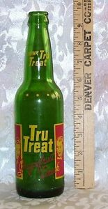 VINTAGE-TRU-TREAT-GRAPEFRUIT-POP-BOTTLE-GREEN-GLASS-12-OUNCES-RARE-AGE-UNKNOWN