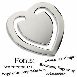 Personalised-Chrome-Heart-Shape-Bookmark-Gift-Any-Message-Engraved