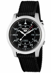Seiko-Watch-SNK809K2-Men-039-s-Seiko-5-Automatic-Black-Dial-Black-Fabric