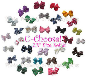U-Choose-2-5-Pr-of-Bows-4-AAB-Squeaky-Shoes-or-Hair-1-Prong-Clip-SOLID-COLORS