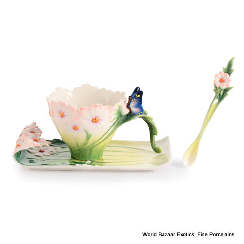 FZ03013 Franz Porcelain Cosmos of Color butterfly cup saucer and spoon New