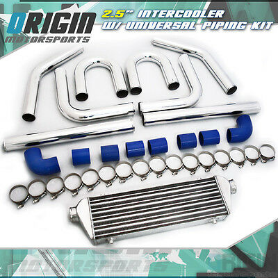 "27x7x2.5 FMIC 2.5"" TURBO INTERCOOLER +Aluminum PIPING KIT + BLUE SILICONE HOSES"