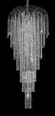 New! Crystal Chandelier Falls Polished Chrome 21X50