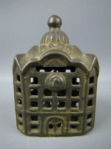 Small-Vintage-Coin-Bank-Cast-Iron-Metal-BANK-Building