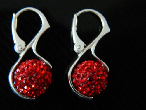 glänzend Party-Abend Shamballa Disko Kugel Ohrringe Rot Blau Weiß Schwarz CC162