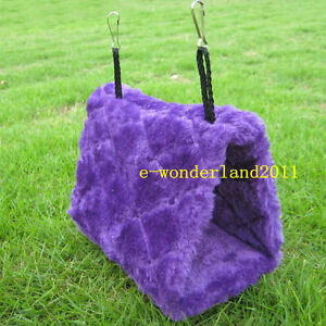 Bird-Hanging-Cave-Cage-Hammock-Plush-Tent-Bed-Parrot-Toy-Happy-Hut-Purple