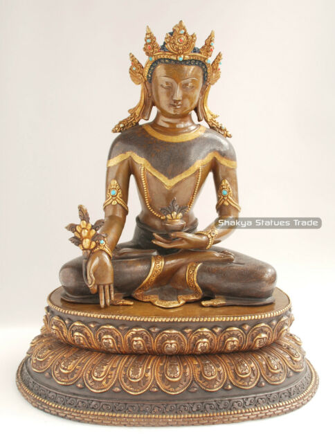 """13.5"""" Crowned Medicine Buddha Oxidized Copper Alloy with Gold Gilded Statue"""