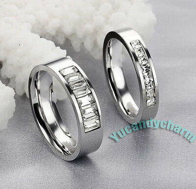 Made in Korea Square Crystal Matching Lover Couple Ring SET Fine Stainless Steel