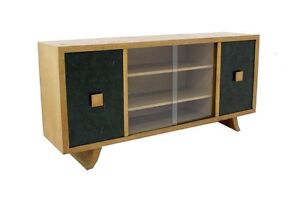 Mid-Century-Modern-Glass-Doors-Sideboard-Credenza-Cabinet