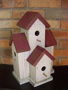 327b Small Condo Birdhouse Burgundy Wooden Creations