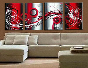 4PCS-Modern-Abstract-Oil-Painting-Large-Wall-Art-Deco-Canvas-No-Frame