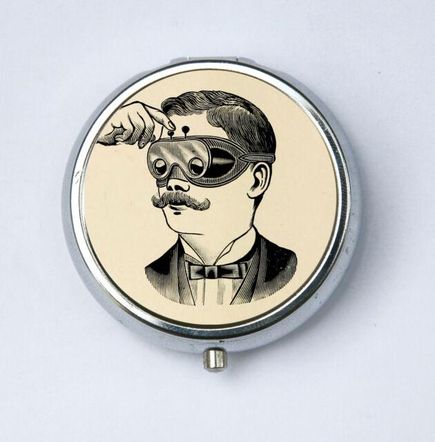 Steampunk mustache PILL CASE pillbox pill box holder victorian goggles vintage