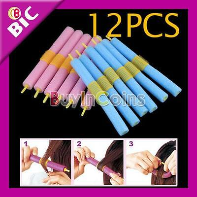 12PCS Soft Foam Bendy Hair Rollers Curlers Cling Strip HK