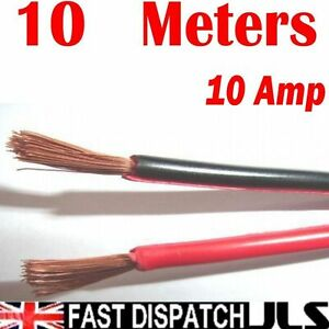 10M-Red-Black-electrical-cable-Car-Home-wire-10A-Meter-32-0-2mm-10-AMP