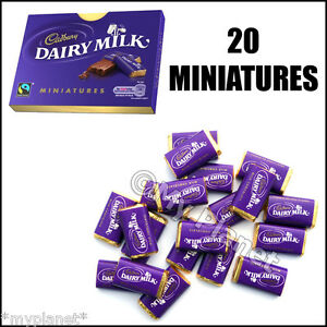 MINIATURES-CADBURY-039-S-DAIRY-MILK-MINI-CHOCOLATE-FRESH-BOX-20-FREETRADE-BARS-100g