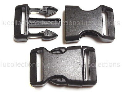 """25 1"""" Contoured Side Release Buckles Black 1 inch Webbing Straps Paracord H84-25"""