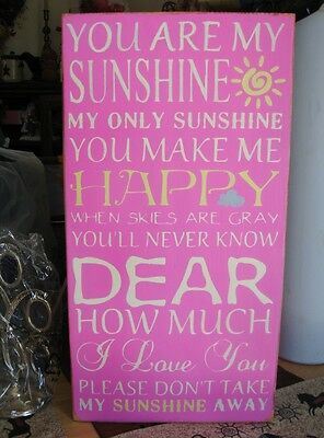 You Are My Sunshine Subway Art Typography Painted Wooden Sign Fuschia Pink