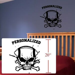 Football Skull crossbones room decal,Football decal ,fathead style stickers