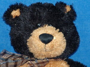 BLACK-GOLDEN-BROWN-GUND-TEDDY-BEAR-AXEL-PLUSH-STUFFED-ANIMAL-15284-PLAID-BOW