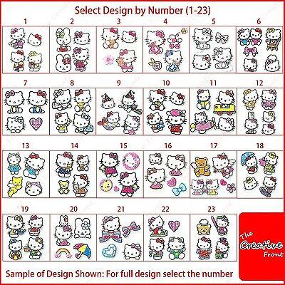 HELLO KITTY NAIL GLITTER STICKERS - New Cute Nail Art Decals - FREE P&P