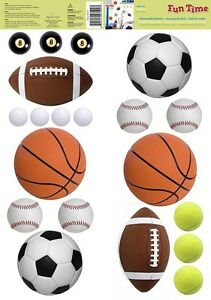 SPORTS-BALLS-20-Removable-Wall-Decals-SOCCER-FOOTBALL-BOYS-Room-Decor-Stickers