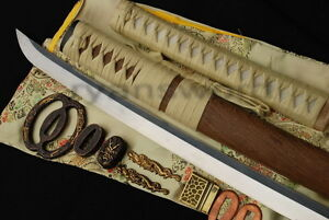 Katana-Japanese-Samurai-Sword-1095-Carbon-Folded-Steel-Huali-Wood-Saya-Full-Tang