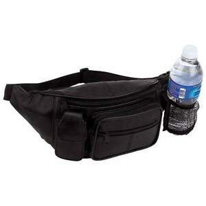 Solid-Black-Leather-Fanny-Pack-Travel-Waist-Belt-Bag-w-Mesh-Pocket-Bottle-Holder