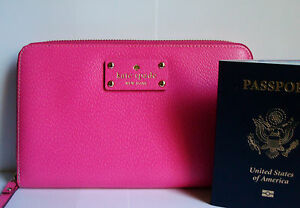 NWT-KATE-SPADE-WELLESLEY-LARGE-TRAVEL-LEATHER-WALLET-PINK