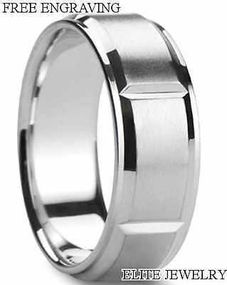 MENS 950 PLATINUM WEDDING BANDS RINGS SIZES 4-12 ~ 8MM WIDE~NEW