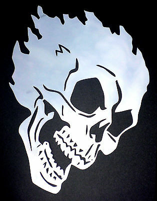 high detail airbrush stencil flame skull FREE UK  POSTAGE